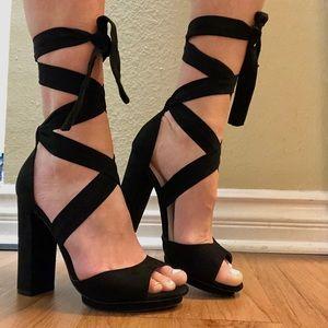 Lulu's Dorian Black Suede Lace-Up Platform Heels